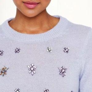 J Crew Embellished Jewel Sweater M Purple Wool